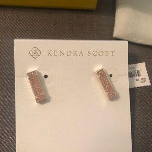 Kendra Scott Gold Stud Earrings in Sand Drusy